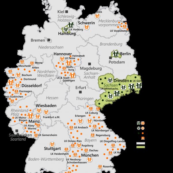 Übersicht integrierte Städte und Regionen